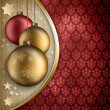 Christmas background - golden and red baubles — Stock Photo