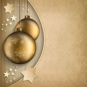 Christmas background - golden baubles and stars — Stock Photo
