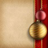 Noel arka plan - baubles ve boş kağıt sayfası — Stok fotoğraf