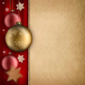 Christmas card template - baulbles, stars and blank space for te — Stock Photo