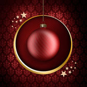 Christmas card template - red bauble and stars — Stock Photo