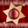 Christmas decoration - red xmas bauble and stars — Stock Photo
