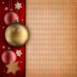 Christmas card template - baulbles, stars and blank space for te — ストック写真