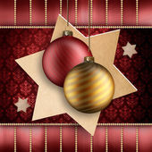 Gold and red christmas baubles — Stock Photo