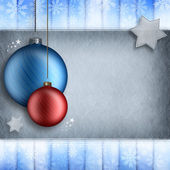 Christmas background - red and blue baubles — Stock Photo