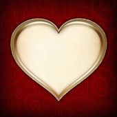 Valentine's Day template - heart on red patterned background — Stock Photo