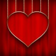 Valentine's Day - Heart on red background — Stock Photo