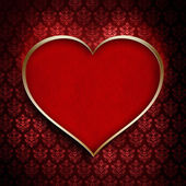 Valentine's Day - red heart in golden frame — Stock Photo