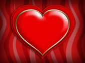 Valentines Day card - red heart on patterned background — Stock Photo
