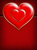 Two red hearts on red background — Stock Photo