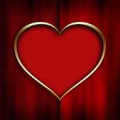 Red heart in golden frame — Stock Photo