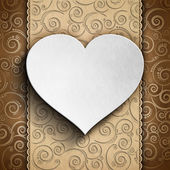 Valentine's Day card - heart on patterned background — Stock Photo