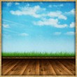Abstract background - wooden floor and sky background — Stock Photo