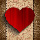 Valentine's Day - red heart on patterned background — Stock Photo