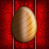 Frohe ostern - goldenes ei auf rot gemusterten hintergrund — Stockfoto