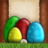 Happy Easter greeting card - eggs and blank space for text — Stock Photo