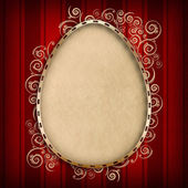 Happy Easter card template - shape of egg on red background — Photo