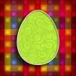 Happy Easter card template - patterned egg on colored background — Stock Photo