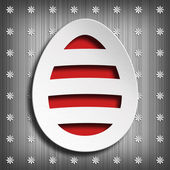 Happy Easter - shape of easter egg on gray background — Stock Photo