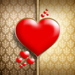 Red hearts on patterned background — Stockfoto