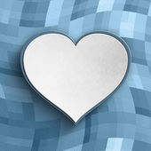 Valentines Day background - white heart on patterned background — Stock Photo