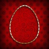 Vzorované velikonoční vajíčko ve zlatém rámu — Stock fotografie