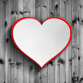 Valentine's Day card background - heart on wooden planks — Stock Photo