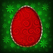 Happy Easter - red egg on green patterned background — Foto de Stock