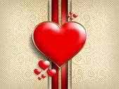 Valentine's Day background - red hearts — Stock Photo