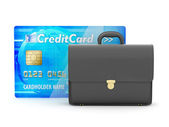 Business briefcase and credit card - concept illustration — Stock Photo