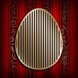 Happy Easter - shape of egg on red background — Stock Photo