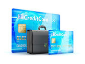 Business briefcase and credit cards as business symbols — Stock Photo