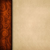 Brown pattern background and blank paper sheet — Stock Photo