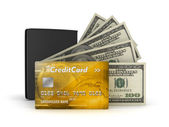 Bank notes, credit or debit card and leather wallet — Stock Photo
