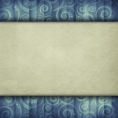 Double-layered background - blank paper sheet on retro pattern — 图库照片