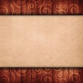 Duas camadas de fundo - folha de papel em branco no padrão retro — Fotografia Stock
