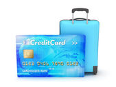 Credit card and suitcase on white background — Stock Photo