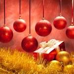 Balls and gift - christmas decoration — Stock Photo #7635571