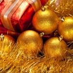 Christmas balls and gift — Stock Photo #7635575