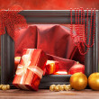 Christmas decoration - gifts, balls and spruce tree — Stock Photo #7635777