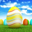 Easter eggs on spring background — Stock Photo #8740227