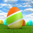 Easter eggs on beautiful nature background — Stock Photo #8740246