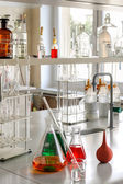 Glassware with chemical liquid in laboratory — Stock Photo