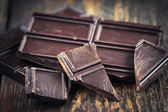 dark choclate and cocoa Powder — Stock Photo