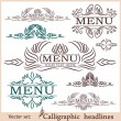 Calligraphic design elements for menu or its. — Stockvectorbeeld