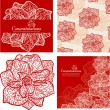 Set of backgrounds with flowers — Vector de stock
