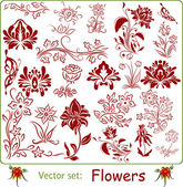 Vector set: Flowers — Stock Vector