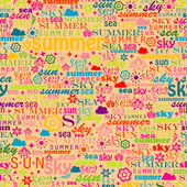 Abstract colorful image made from words which relate with summer and holiday — Stock Vector