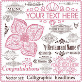 Vector set: calligraphic design elements for menu or its. — Stock Vector