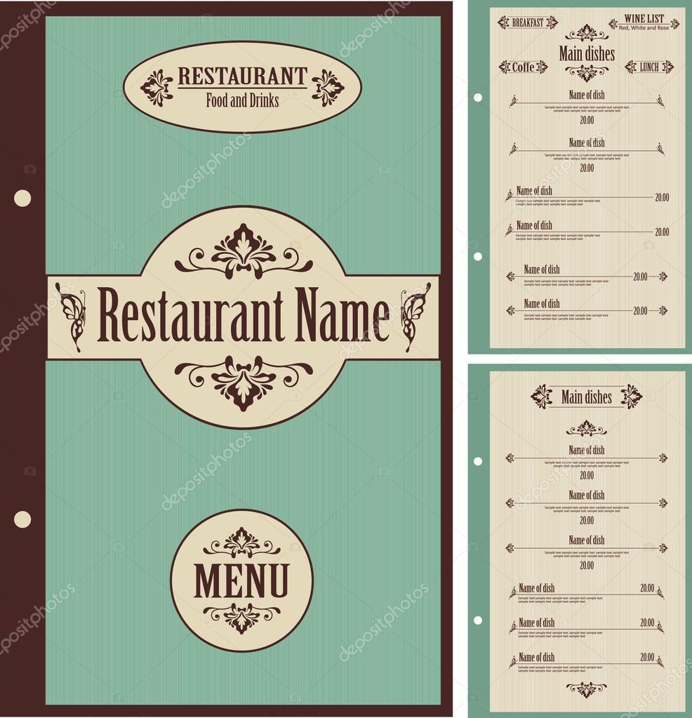Restaurant menu design template vector — stock